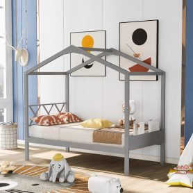 Twin Size Wood House Bed With Storage Space