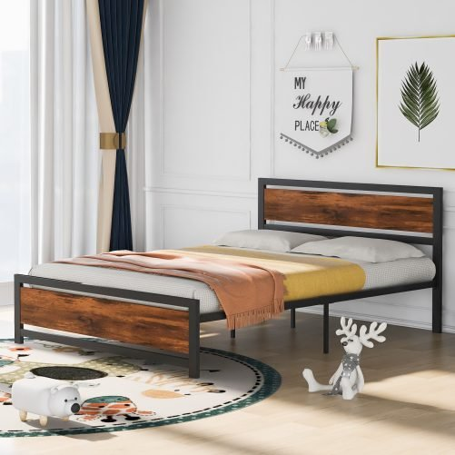 Metal And Wood Platform Bed Frame With Headboard And Footboard ,Queen Size