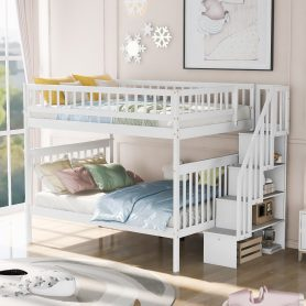Full Over Full Bunk Bed With Staircase And Storage Shelves