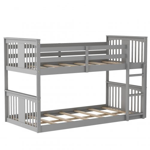Twin Over Twin Low Bunk Bed With Ladder