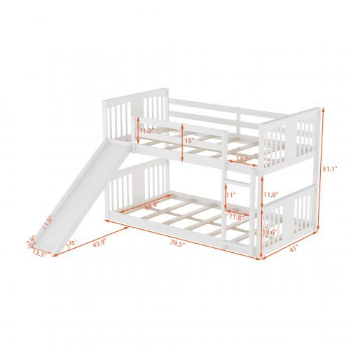 Twin Over Twin Low Bunk Beds With Slide And Ladder