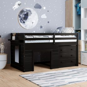 Twin Size Loft Bed With Cabinet And Shelf