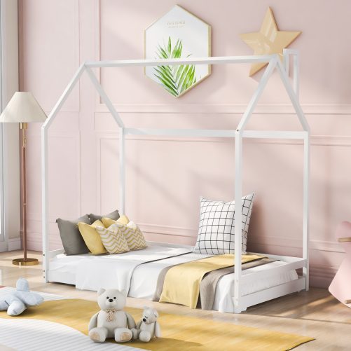 Twin Size House Bed Wood Bed
