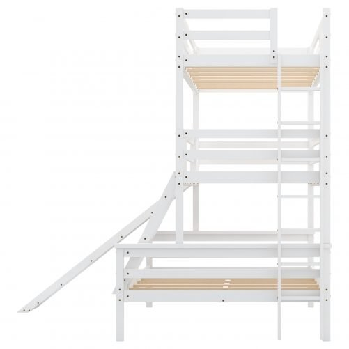 Twin over Twin over Full Triple Bunk Bed with Convertible Ladder and Slide