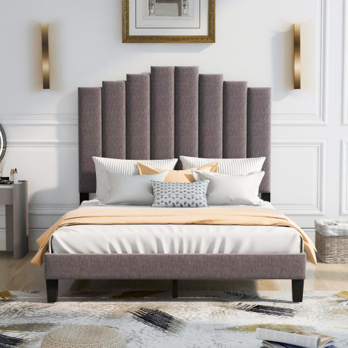 Upholstered Platform Bed with Soft Headboard and Sturdy Legs, Queen, Gray