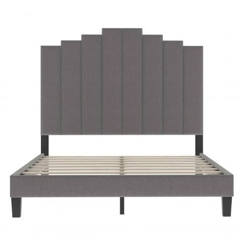 Upholstered Platform Bed with Soft Headboard and Sturdy Legs, Full, Gray