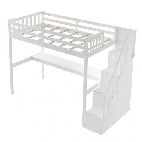 Twin Size Loft Bed With Staircase And Built-in Desk