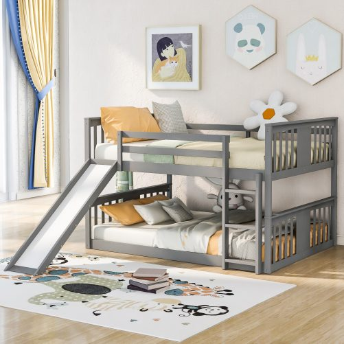 Full Over Full Bunk Bed With Ladder With Slide