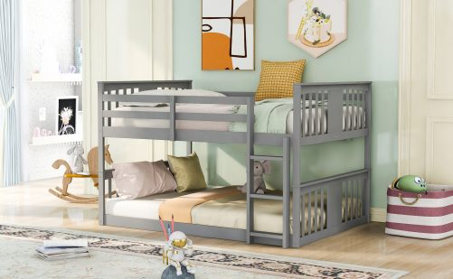 Full Over Full Low Bunk Bed With Ladder