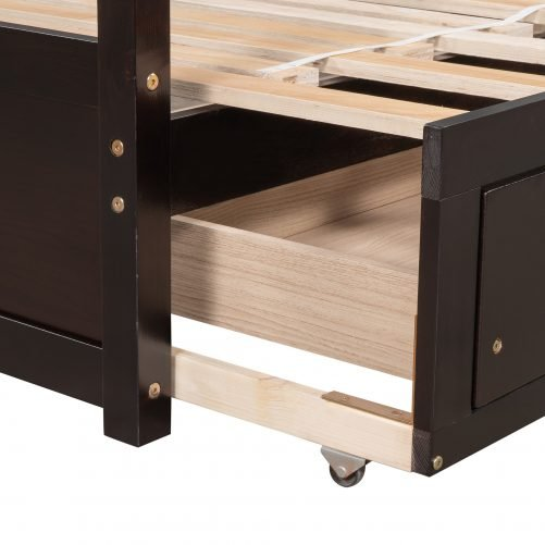Extending Wooden Daybed With Two Drawers