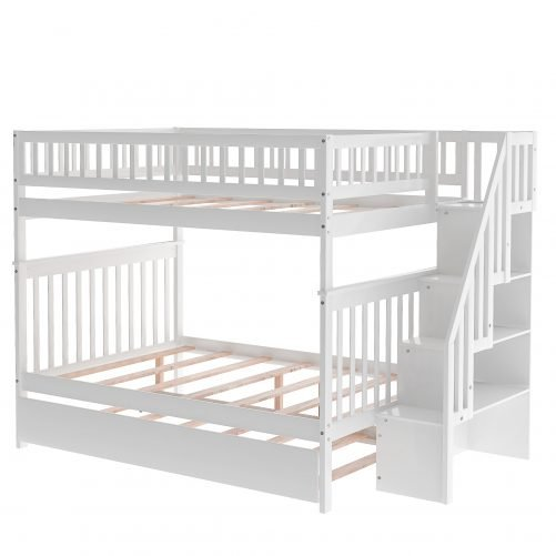 Full Over Full Bunk Bed With Trundle And Staircase