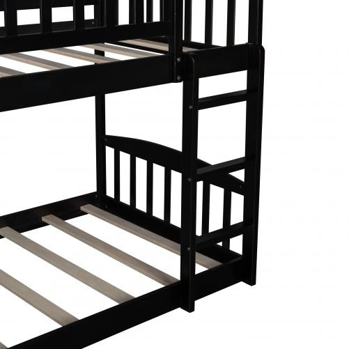 Twin Over Twin Bunk Bed With Slide, House Shaped