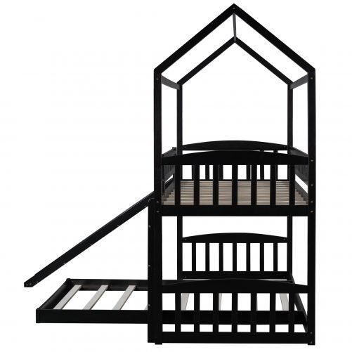 Twin Over Twin Bunk Bed With Slide, House Bed