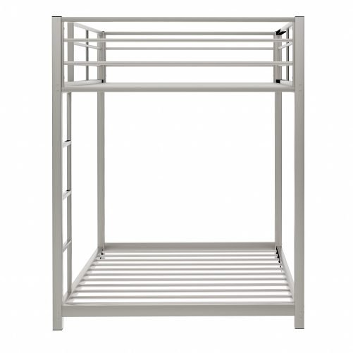 Twin Over Twin Metal Bunk Bed With Ladder And Full-Length Guardrail