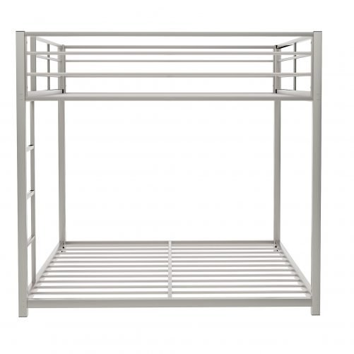 Full Over Full Metal Bunk Bed With Ladder And Full-Length Guardrail