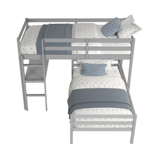Twin Over Twin L-Shaped Bunk With Desk