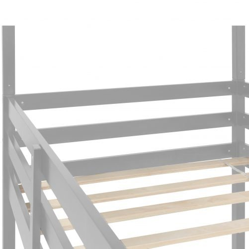 Wood Twin Over Twin Over Twin Triple Bunk Bed With Ladders