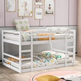 Low Full Over Full Bunk Bed With Ladder