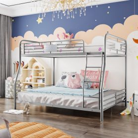 Full XL Over Queen Metal Bunk Bed, Divided Into Two Bed