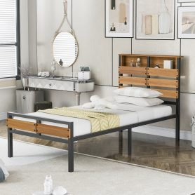 Metal and Wood Bed Frame with Headboard and Footboard ,Twin Size