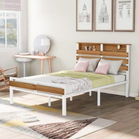 Metal and Wood Bed Frame with Headboard and Footboard ,Full Size