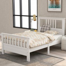 Wooden platform bed with headboard and footboard 1