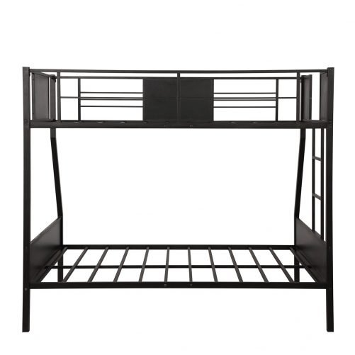 Twin-over-full bunk bed modern style steel frame bunk bed with safety rail, built-in ladder for bedroom, dorm, boys, girls, adults 8