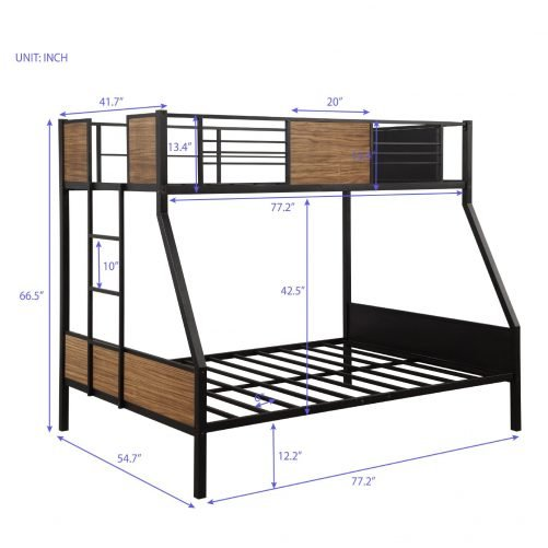 Twin-over-full bunk bed modern style steel frame bunk bed with safety rail, built-in ladder for bedroom, dorm, boys, girls, adults 14