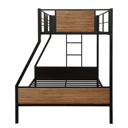 Twin-over-full bunk bed modern style steel frame bunk bed with safety rail, built-in ladder for bedroom, dorm, boys, girls, adults 16