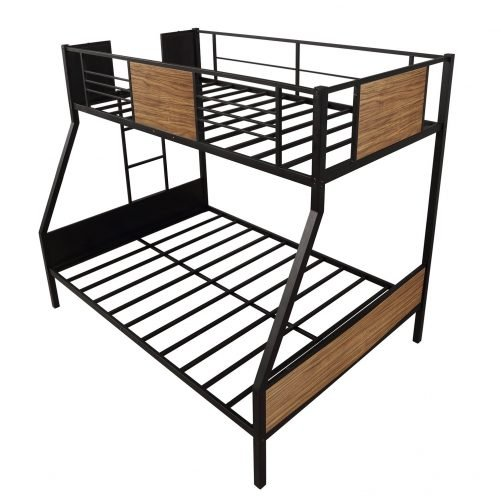 Twin-over-full bunk bed modern style steel frame bunk bed with safety rail, built-in ladder for bedroom, dorm, boys, girls, adults 10