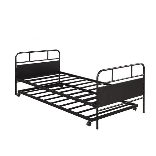 Metal Daybed Platform Bed Frame with Trundle Built-in Casters, Twin Size 8