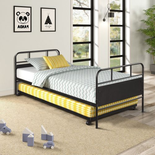Metal Daybed Platform Bed Frame with Trundle Built-in Casters, Twin Size 3