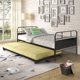 Metal Daybed Platform Bed Frame with Trundle Built-in Casters, Twin Size 14