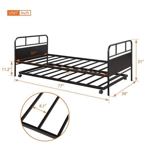 Metal Daybed Platform Bed Frame with Trundle Built-in Casters, Twin Size 5
