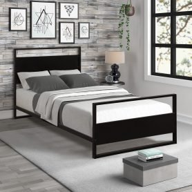 Metal and Wood Bed Frame with Headboard and Footboard / Strong Slat Support/No Box Spring Needed/Industrial Style(Twin) 3