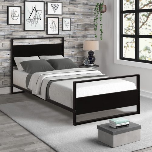 Metal and Wood Bed Frame with Headboard and Footboard / Strong Slat Support/No Box Spring Needed/Industrial Style(Twin) 2