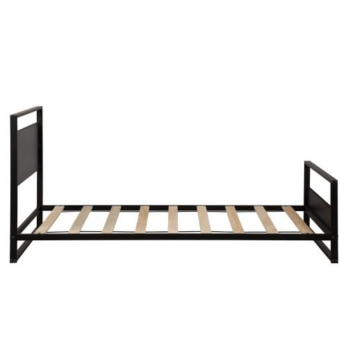 Metal and Wood Bed Frame with Headboard and Footboard / Strong Slat Support/No Box Spring Needed/Industrial Style(Twin) 8