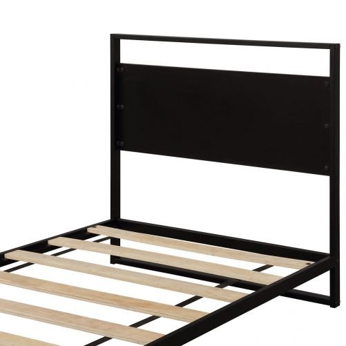 Metal and Wood Bed Frame with Headboard and Footboard / Strong Slat Support/No Box Spring Needed/Industrial Style(Twin) 6