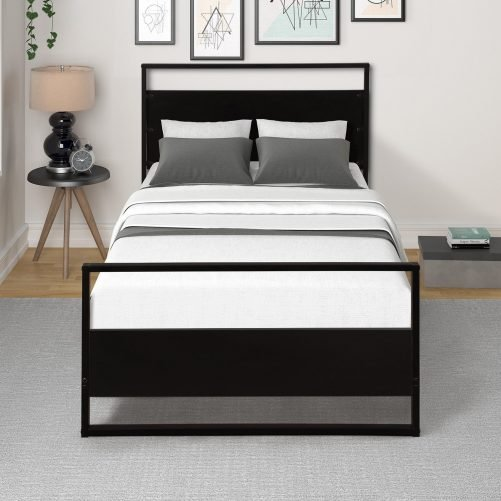 Metal and Wood Bed Frame with Headboard and Footboard / Strong Slat Support/No Box Spring Needed/Industrial Style(Twin) 10