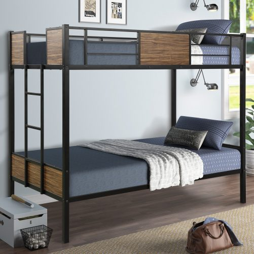 Twin over Twin Bunk Bed with Rail, built-in ladder 6