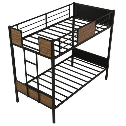 Twin over Twin Bunk Bed with Rail, built-in ladder 10