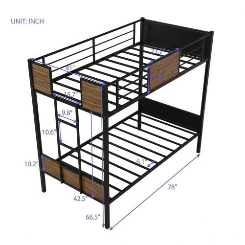 Twin over Twin Bunk Bed with Rail, built-in ladder 4