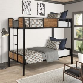 Twin over Twin Bunk Bed with Rail, built-in ladder 24