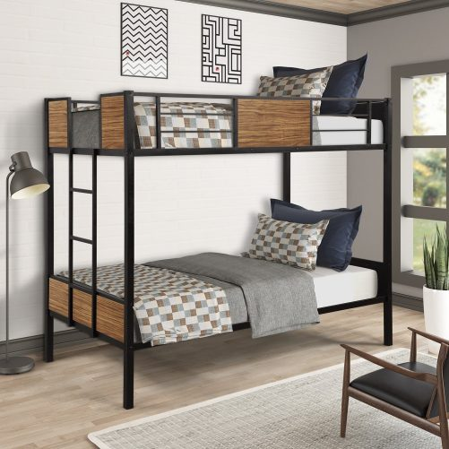 Twin over Twin Bunk Bed with Rail, built-in ladder 2