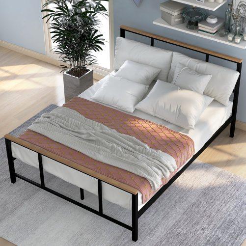 Metal bed with wood decoration(Twin size) 4