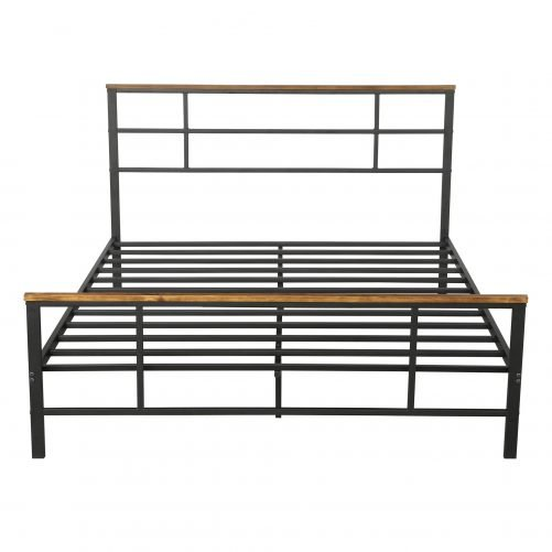 Metal bed with wood decoration(Queen size) 14