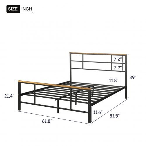 Metal bed with wood decoration(Queen size) 16