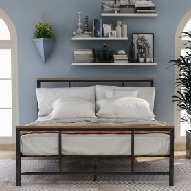 Metal bed with wood decoration(Queen size) 9