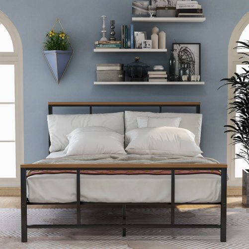 Metal bed with wood decoration(Queen size) 1