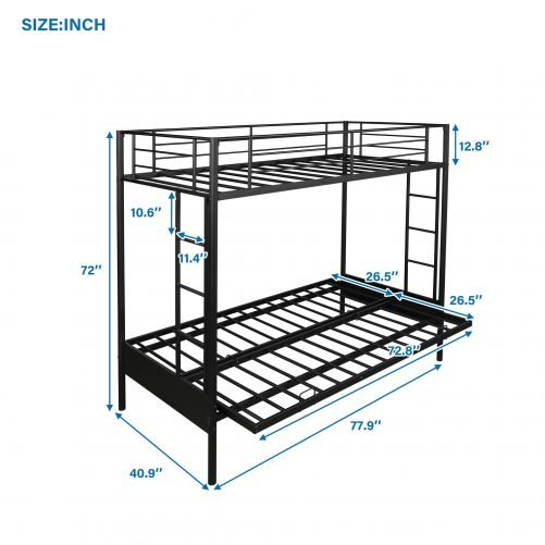 Twin over Full Metal Bunk Bed, Multi-Function 4
